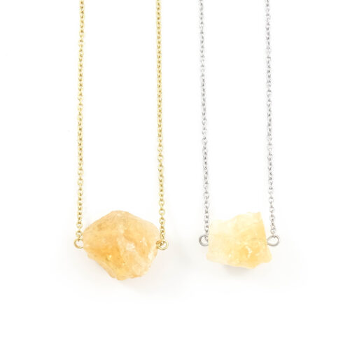 'Raw stone' ketting citrien - zilver of goud staal