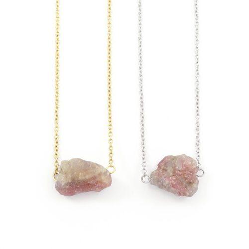 'Raw stone' ketting rode toermalijn - zilver of goud staal