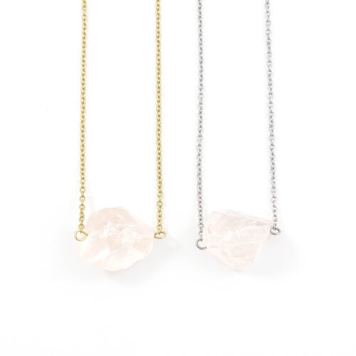 'Raw stone' ketting rozenkwarts - zilver of goud staal