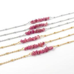 Armbandje met rode toermalijn edelsteen – zilver of goud stainless steel