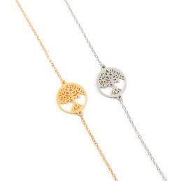 Armbandje met levensboom goud of zilver staal