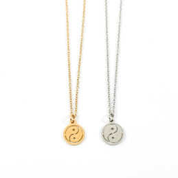 Ketting yin yang zilver of goud stainless steel
