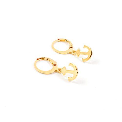 Oorbellen met anker goud RVS