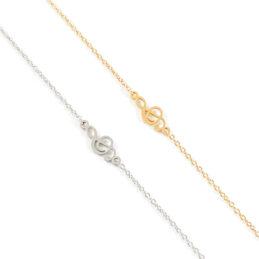 Armbandje met g-sleutel goud of zilver staal