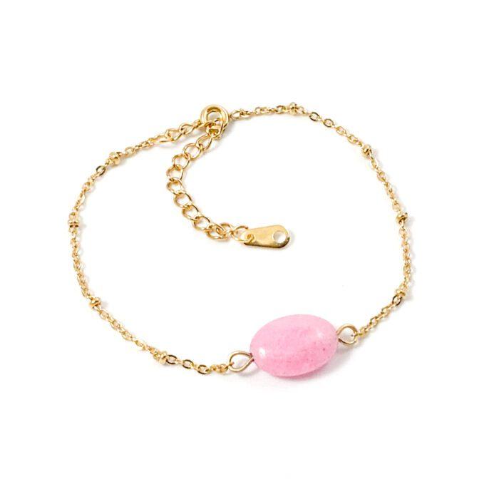 Armbandje roze jade goud stainless steel