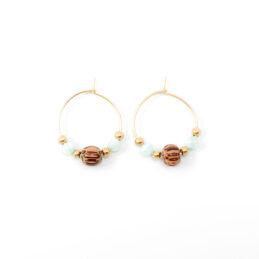 Beaded hoop oorbellen goud – blue breeze – 20 mm