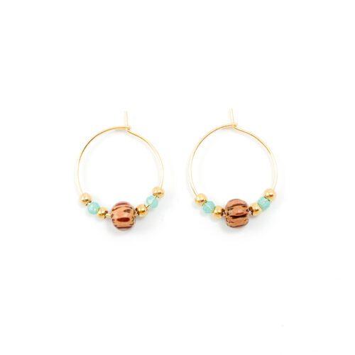 Beaded hoop oorbellen goud - tropical treasure - 20 mm
