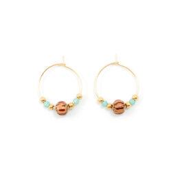 Beaded hoop oorbellen goud – tropical treasure – 20 mm