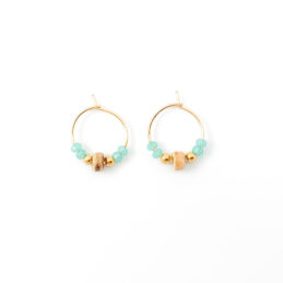 Beaded hoop oorbellen goud – blue coco – 15mm