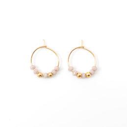 Beaded hoop oorbellen goud – light lila – 15mm