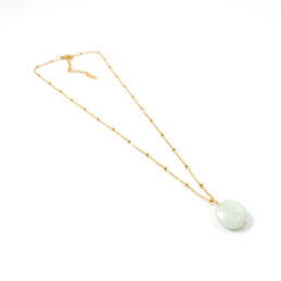 Ketting 'minty stone' goud stainless steel