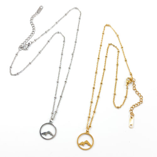 Ketting 'mountains' zilver of goud stainless steel