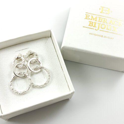 Oorbellen 'Triple circle' 925 sterling silver - cirkel oorstekers zilver