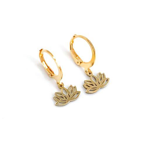 Oorbellen met lotus goud RVS