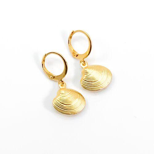 Oorbellen met schelpje goud RVS
