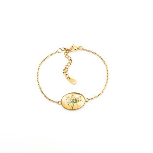 Armband met droogbloemen goud stainless steel - 1.1