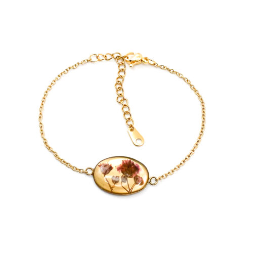 Armband met droogbloemen goud stainless steel - 1.2