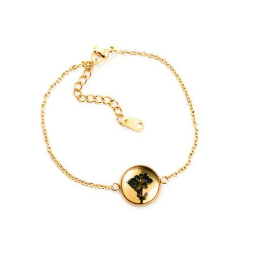 Armband met droogbloemen goud stainless steel - 2.1
