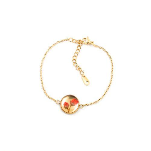 Armband met droogbloemen goud stainless steel - 2.2