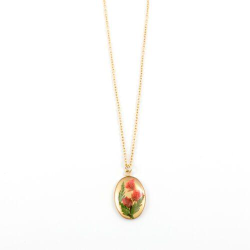 Ketting met droogbloemen goud stainless steel - 1.3
