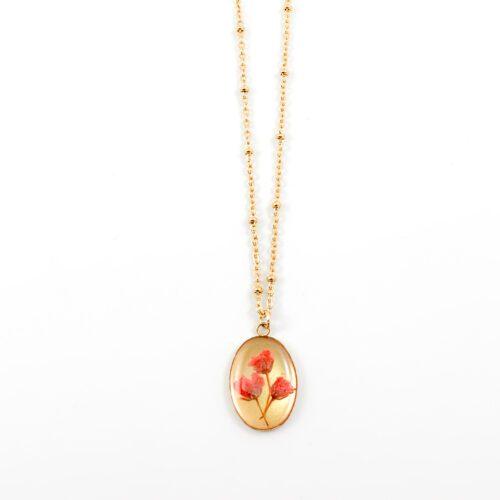 Ketting met droogbloemen goud stainless steel - 1.5