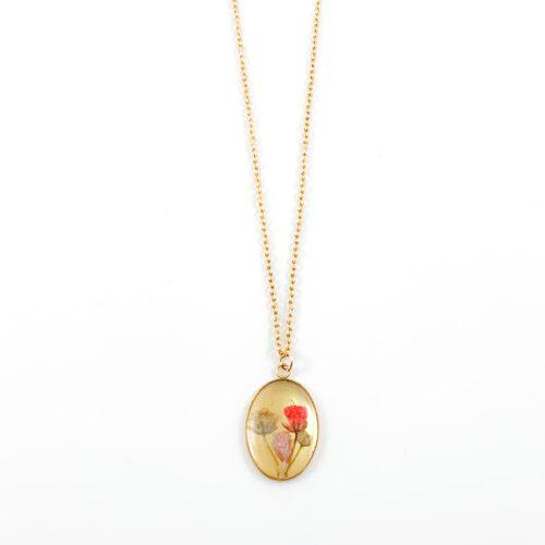 Ketting met droogbloemen goud stainless steel - 1.6