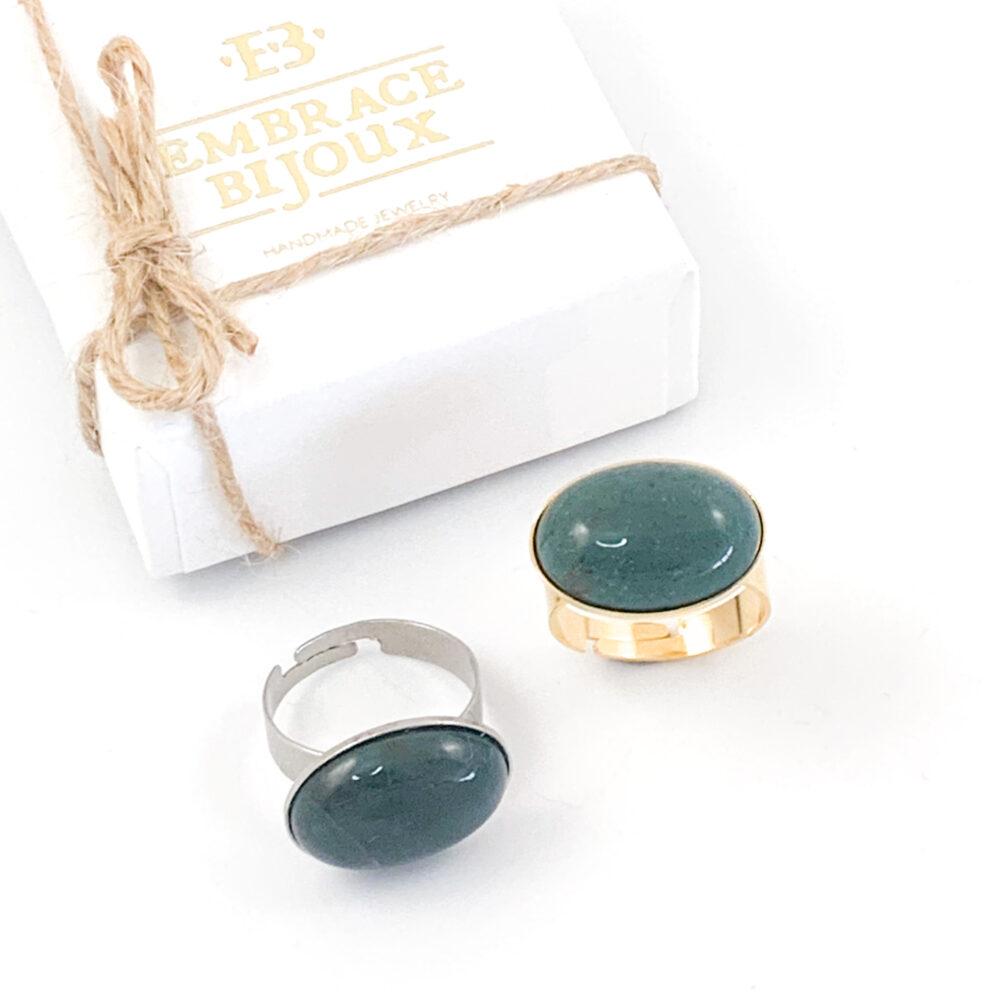 Ring agaat donkergroen edelsteen - ovaal horizontaal - zilver of goud stainless steel