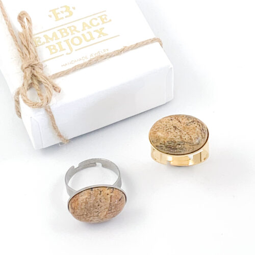 Ring beige jasper edelsteen - ovaal horizontaal - zilver of goud stainless steel jaspis