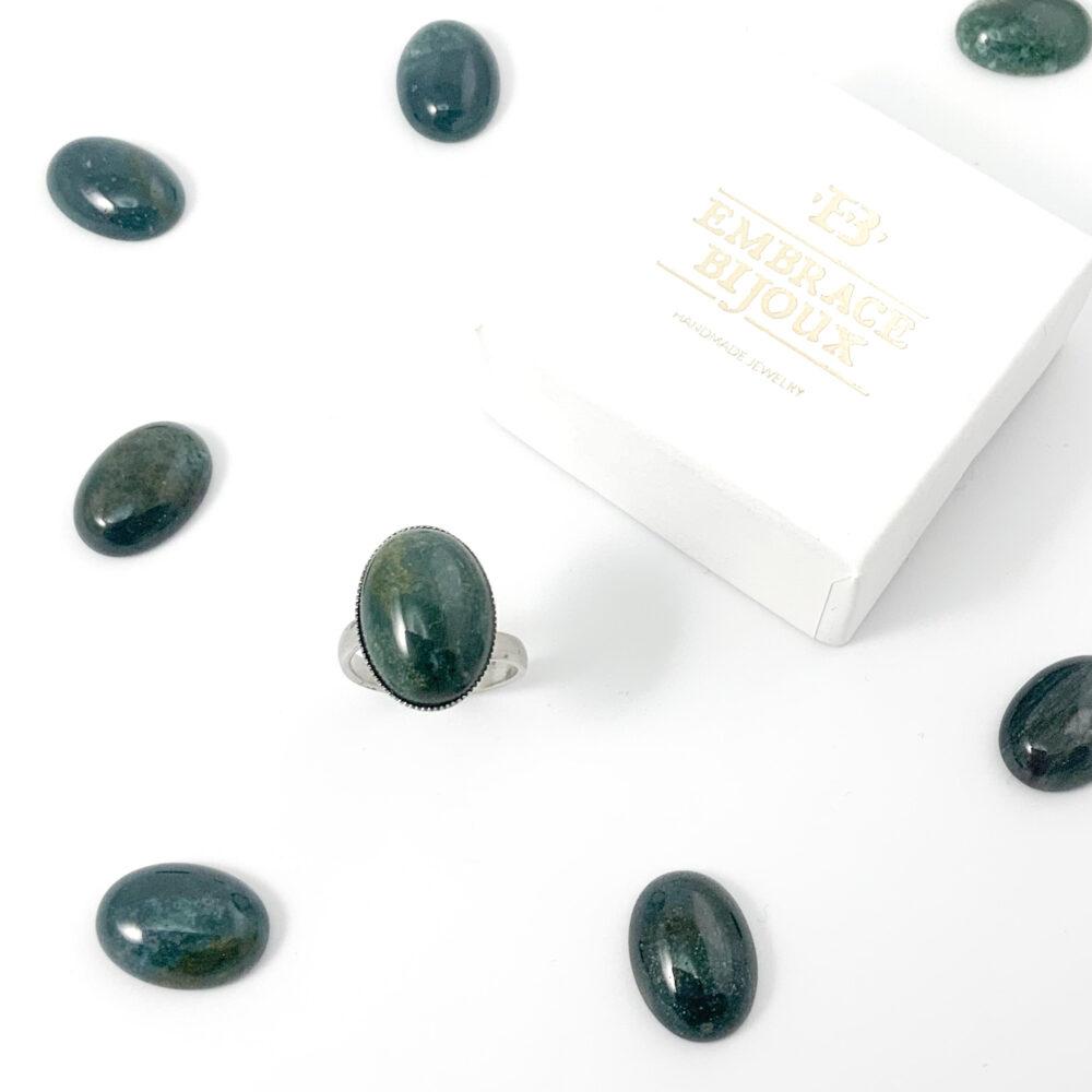 Ring donkergroen agaat edelsteen ovaal - zilver stainless steel