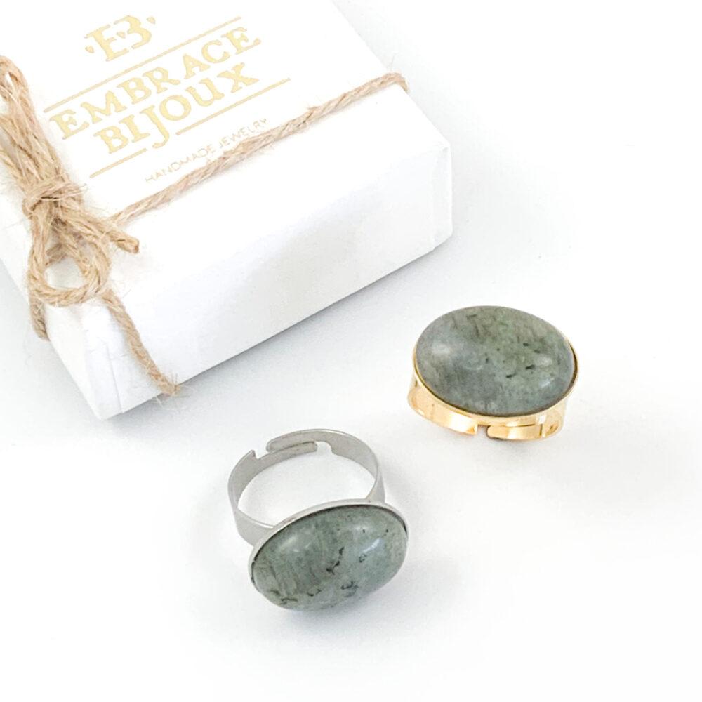 Ring labradoriet edelsteen - ovaal horizontaal - zilver of goud stainless steel