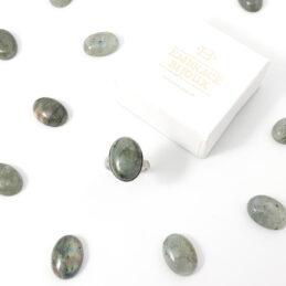 Ring labradoriet edelsteen – ovaal verticaal – zilver stainless steel