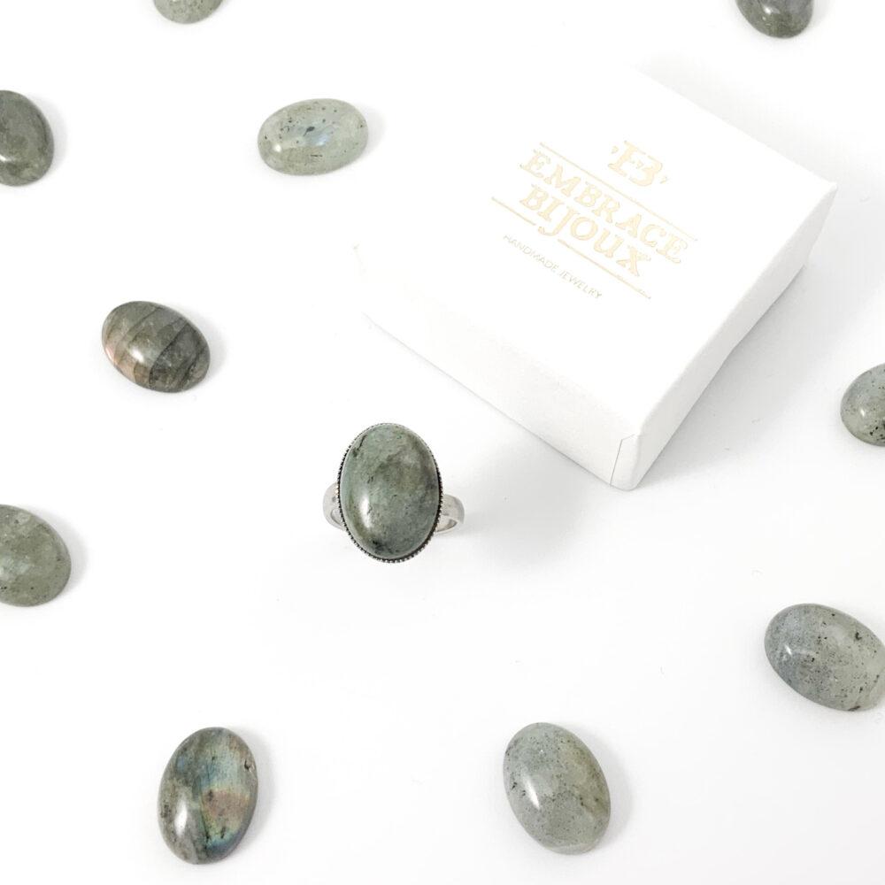 Ring labradoriet edelsteen ovaal - zilver stainless steel