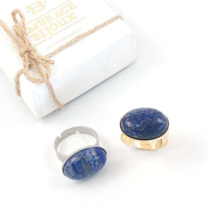 Ring lapis lazuli edelsteen - ovaal horizontaal - zilver of goud stainless steel