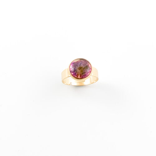 Ring met droogbloemen goud stainless steel - 1.2