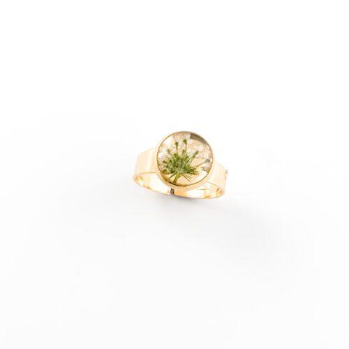 Ring met droogbloemen goud stainless steel - 1.3