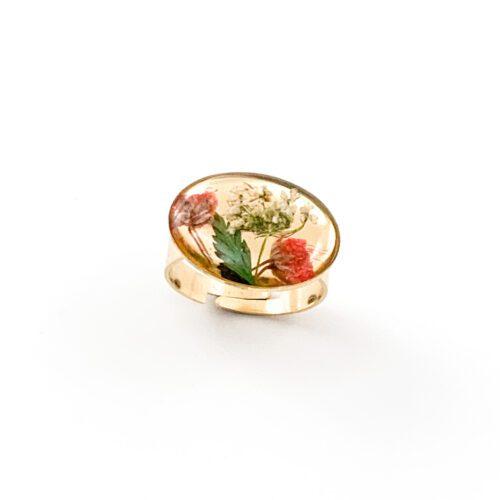 Ring met droogbloemen goud stainless steel - 2.1