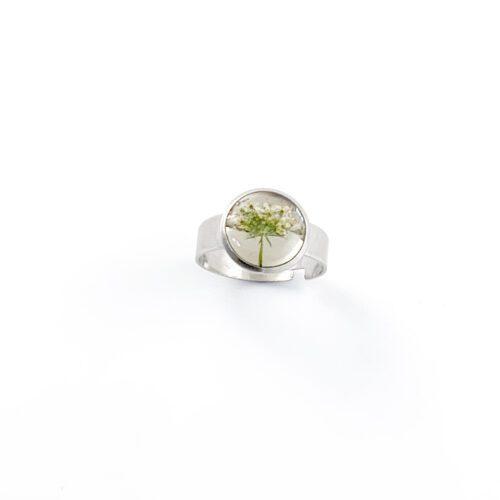 Ring met droogbloemen zilver stainless steel - 1.1