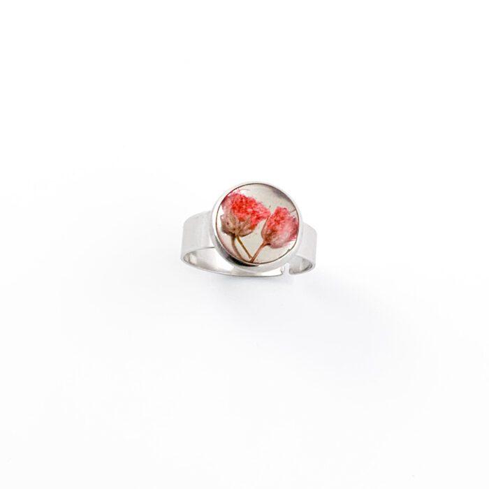 Ring met droogbloemen zilver stainless steel - 1.3