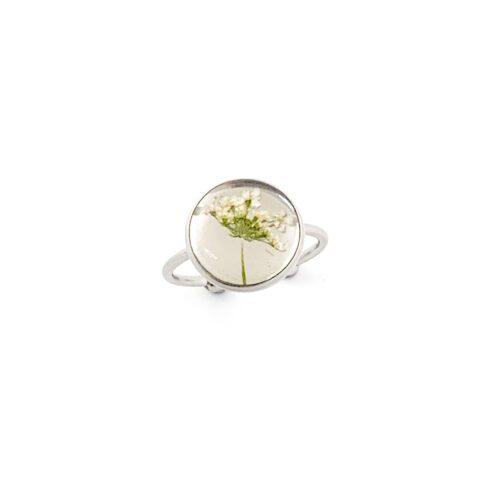 Ring met droogbloemen zilver stainless steel - 2.1