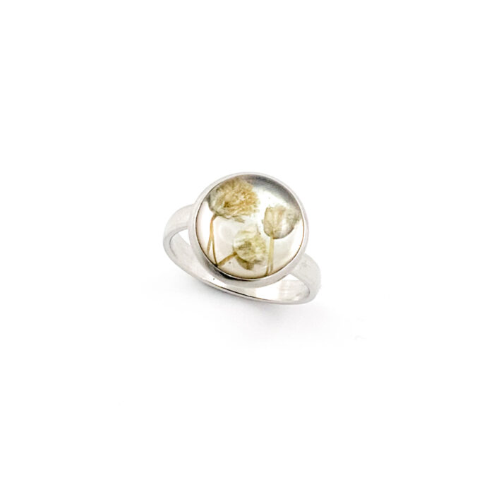 Ring met droogbloemen zilver stainless steel - 3.1
