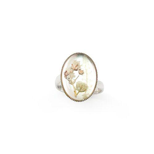 Ring met droogbloemen zilver stainless steel - 4.2