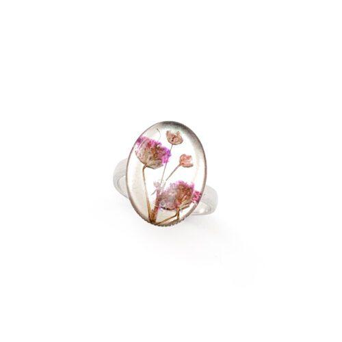 Ring met droogbloemen zilver stainless steel - 4.3