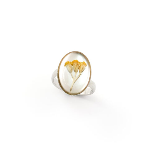Ring met droogbloemen zilver stainless steel - 4.4