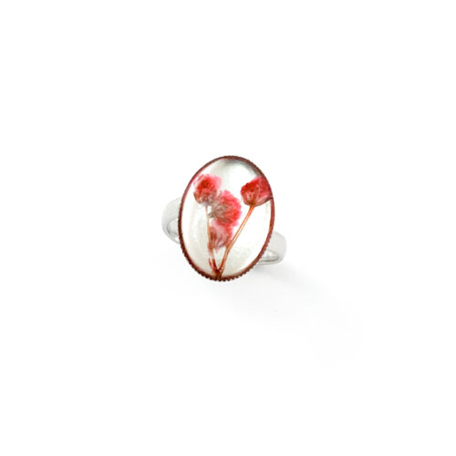 Ring met droogbloemen zilver stainless steel - 4.5