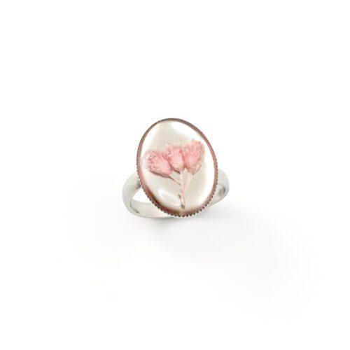 Ring met droogbloemen zilver stainless steel - 4.7