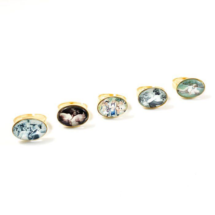 Ring met foto ovaal goud stainless steel ring met echo foto sieraad gezin herinnering kinderen cadeau mama