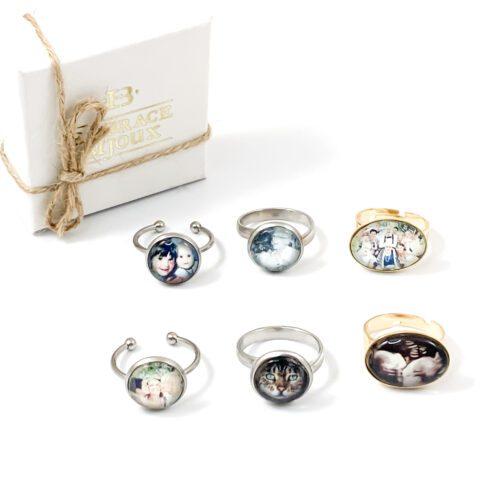 Ring met foto - stainless steel ring met foto gezin kind herinnering huisdier hond kat echo foto sieraden
