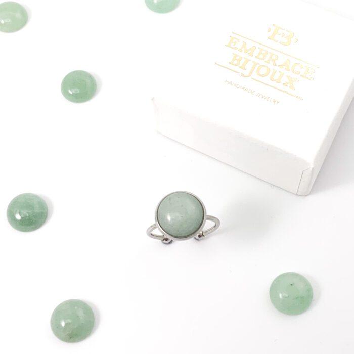 Ring met groene aventurijn edelsteen rond - zilver stainless steel