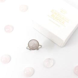 Ring met rozenkwarts edelsteen rond – zilver stainless steel