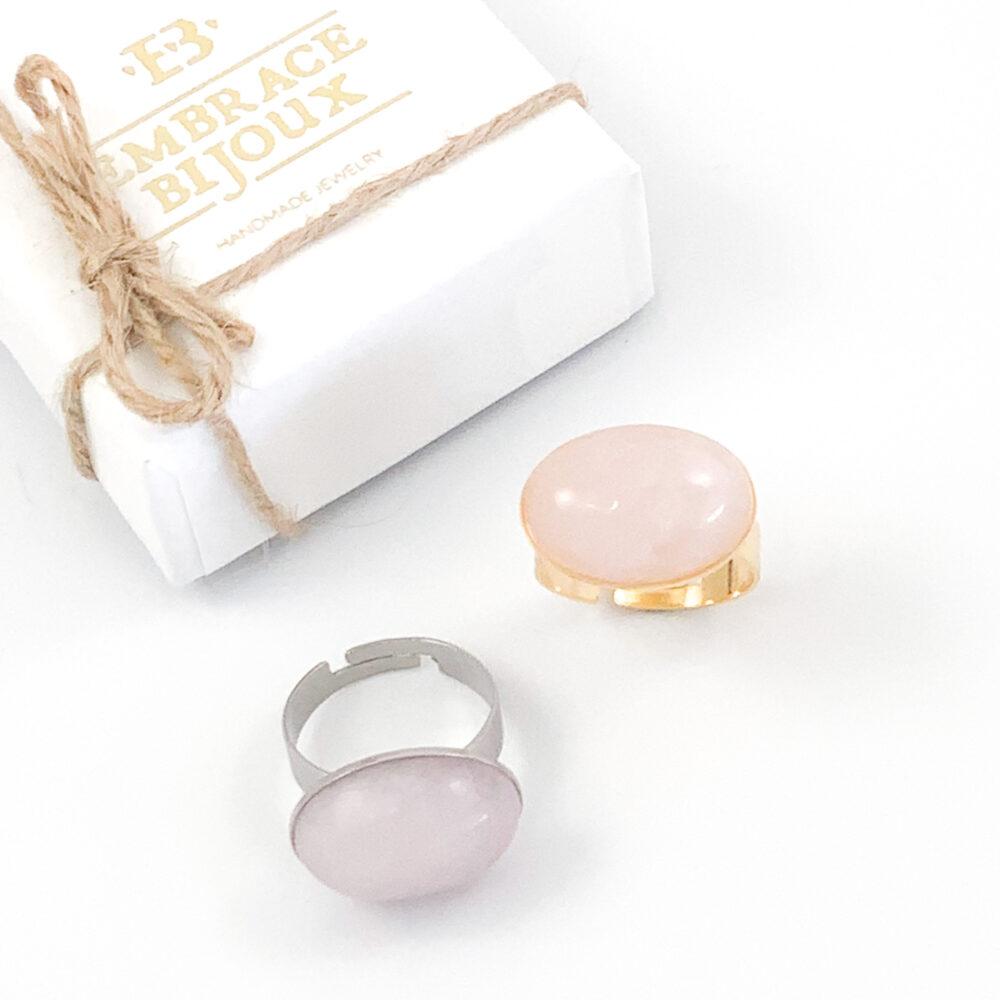 Ring rozenkwarts edelsteen - ovaal horizontaal - zilver of goud stainless steel
